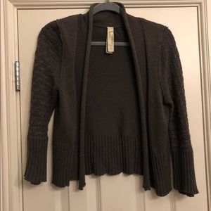 Fossil Grey Bell Sleeve Cropped Cardigan